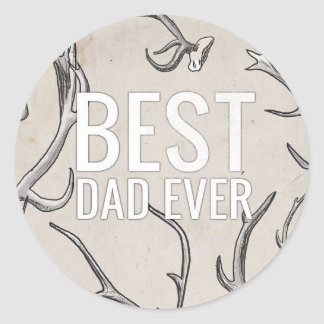 Best Dad Ever with antlers Sticker