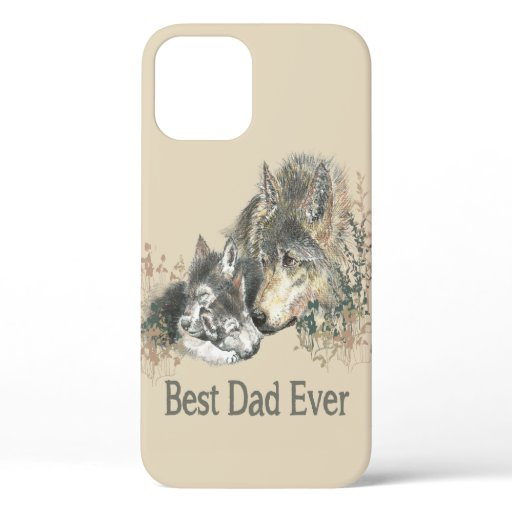 Best Dad Ever Wolf Watercolor Animal Quote iPhone 12 Case