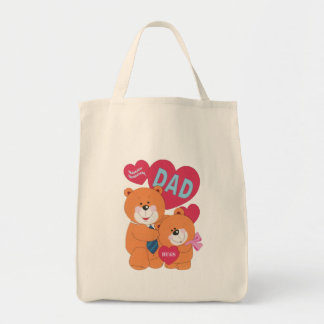 Best Dad Father's Day Father Daughter Bear Cartoon Tote Bag