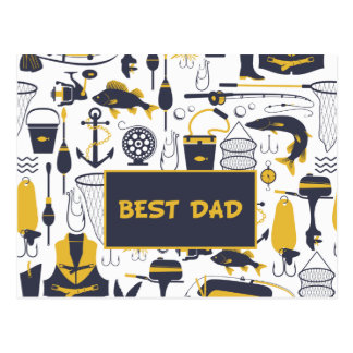 Best Dad Fishing Equipment in Blue and Gold Postcard
