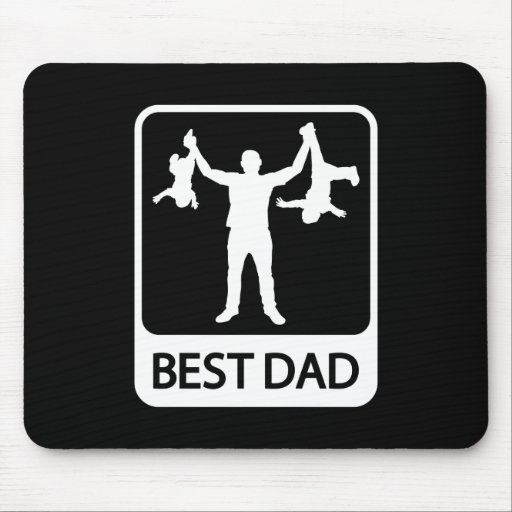 Best Dad - Funny Silhouette of Father Holding Kids Mouse Pad