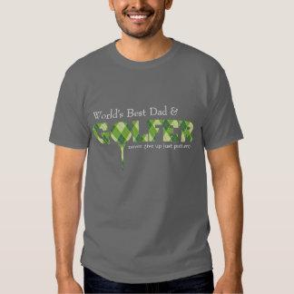 Best Dad Golfer tee argyle patterned green t-shirt