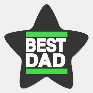 Best Dad Green Star Sticker