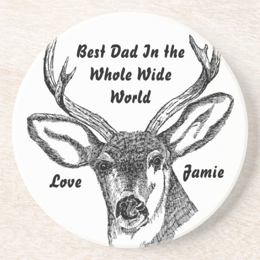 Best Dad In the Whole World Vintage Buck Coasters