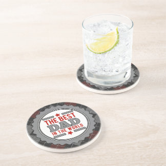Best Dad in the World Argyle Patterned Coaster