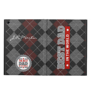 Best Dad in the World Argyle Patterned Cover For iPad Air