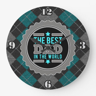 Best Dad in the World Argyle Patterned Large Clock