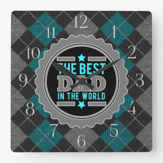 Best Dad in the World Argyle Patterned Square Wall Clock