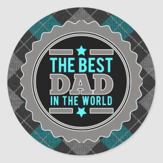 Best Dad in the World Argyle Patterned Classic Round Sticker