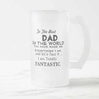 Best Dad in the World FUNNY FATHER GIFT Frosted Glass Beer Mug