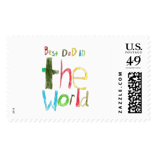 best dad in the world postage stamp