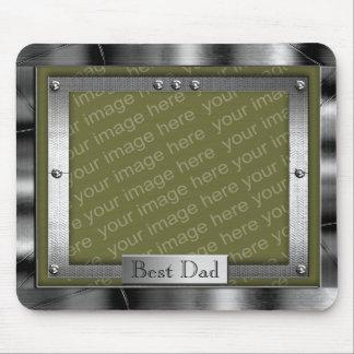 Best Dad Metal Look Photo Frame Mousepad