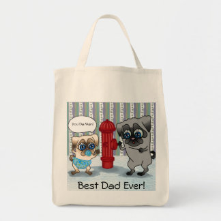 Best Dad Pug Father and Pug Baby personalizable Tote Bag