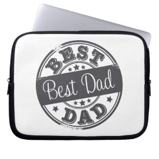 Best Dad - rubber stamp effect - Computer Sleeve