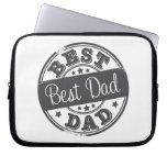 Best Dad - rubber stamp effect - Laptop Computer Sleeves