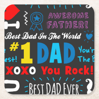 Best Dad Sayings Square Paper Coaster