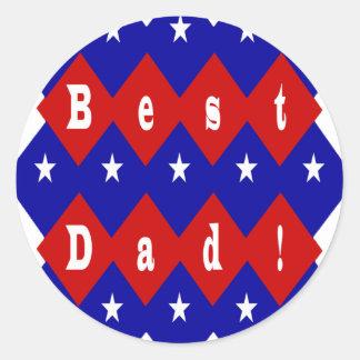 Best Dad Stars and Diamonds Classic Round Sticker
