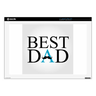 """Best Dad with a mustache over A Decals For 17"""" Laptops"""