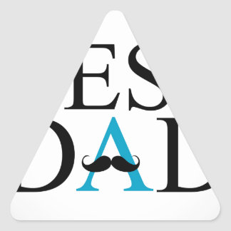 Best Dad with a mustache over A Triangle Sticker