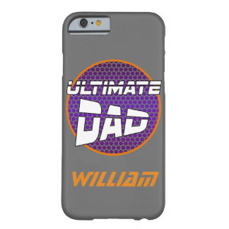 Best Dad with Customizable Name Violet and Orange Barely There iPhone 6 Case