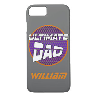 Best Dad with Customizable Name Violet and Orange iPhone 7 Case