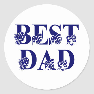 Best Dad with Flags Blue Text Classic Round Sticker