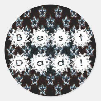 Best Dad with Neon Stars Classic Round Sticker