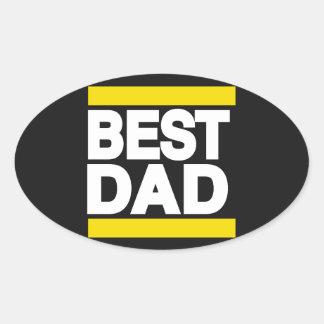 Best Dad Yellow Oval Sticker