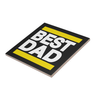 Best Dad Yellow Tile