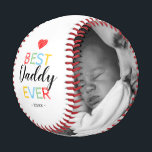 """Best Daddy Ever Gift Photo Baseball<br><div class=""""desc"""">Fathers day baseball gift featuring the text """"best daddy ever"""",  and the date. Plus 2 family photos for you to customize with your own to make this an extra special dad gift.</div>"""