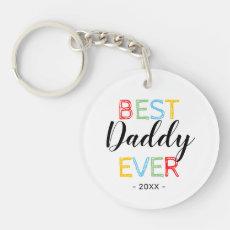 Best Daddy Ever Photo Gift Keychain