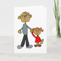 Best Daddy Father's Day Father Daughter Cartoon Card