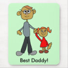 Best Daddy Father's Day Father Daughter Cartoon Mouse Pad