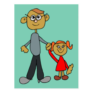 Best Daddy Father's Day Father Daughter Cartoon Postcard