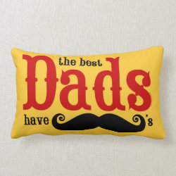 Throw Pillow Lumbar 13' x 21' with The Best Dads Have Moustaches design
