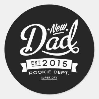 Best Dark New Dad 2015 Classic Round Sticker