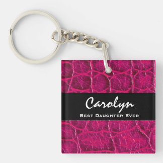 Best DAUGHTER Ever Hot Pink Alligator Print Gift Double-Sided Square Acrylic Keychain