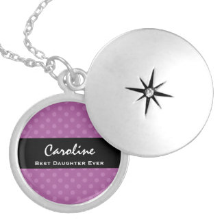 Best Daughter Ever Muted Purple Polka Dots Gift Silver Plated Necklace