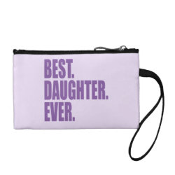 Key Coin Clutch with Best. Daughter. Ever. (purple) design