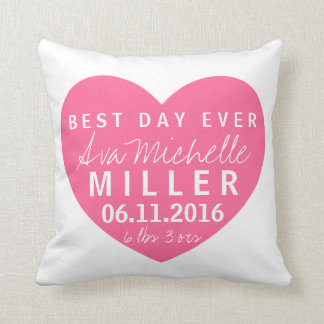 best day ever baby girl birth stats pillow