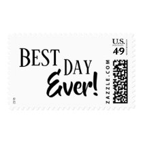 Best Day Ever! Black on White Typography Postage