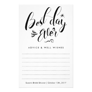 Best Day Ever, Bridal Shower Advice Card