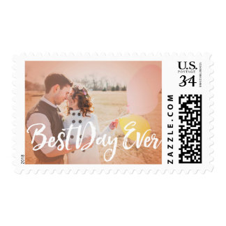 Best Day Ever Calligraphy Custom Photo Stamp