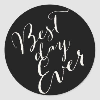 Best Day Ever Calligraphy Script Wedding Stickers