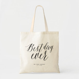 Best Day Ever Calligraphy Script Wedding Tote Bag