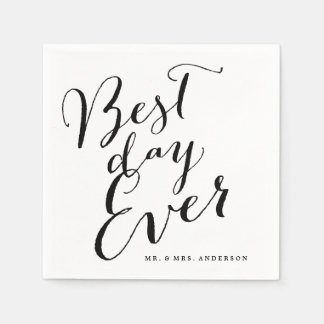 Best Day Ever Classic Script Calligraphy Wedding Napkin