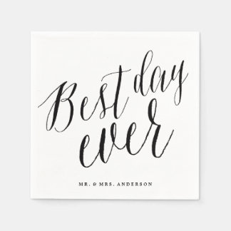 Best Day Ever Classic Script Calligraphy Wedding Standard Cocktail Napkin