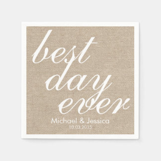 Best day ever faux burlap rustic chic wedding name paper napkin