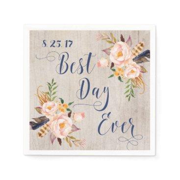 joyonpaper Best Day Ever Floral Boho Wedding Napkins