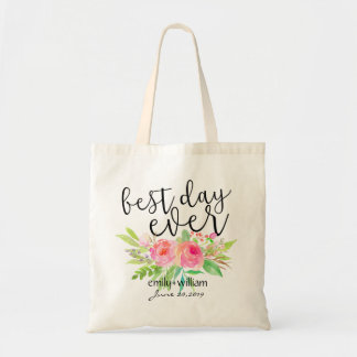 """Best Day Ever""Flower Bouquet Wedding Welcome Gift Tote Bag"
